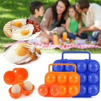 Wholesale bbq tool storage - 12 6 Plastic Egg Holder Carrier Folding Egg Storage Tray Box Outdoor Camping Gadgets BBQ Egg Tools AAA227