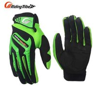 guantes de moto verdes al por mayor-Tribu de equitación Guantes de moto Motocross verde Ciclismo Dirt Bike Dedo completo Sport Moto Gloves Moto Verano Motobike