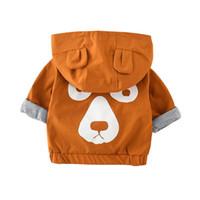 abrigo de bebé marrón al por mayor-2018 Primavera Otoño Niños Ropa Oso de Dibujos Animados En Forma de Abrigo Con Capucha Abrigo Para Bebés Marrón Cremallera Moda Niños Abrigos