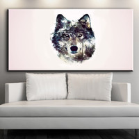 Wholesale simple figure painting resale online - simple canvas art watercolor wolf head animal canvas pictures oil art painting for livingroom bedoroom decoration No framed