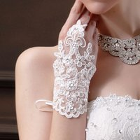 Wholesale gloves sexy bridal - Fingerless Red White Ivory Lace Wedding Gloves for Bride Sexy Bridal Gloves Lace Sequined 2018 Bridal Accessories Cheap