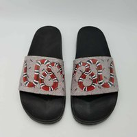 Wholesale womens slipper booties - High quality designer slippers snake print flowers European Tiger lines style Shoes luxury brand sandals G flip flops for mens womens