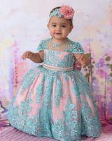 2019 Nuevo Vestido Azul De Encaje Madre Madre Hija Vestido De Bola Vestidos De Cumpleaños Para Bebés Niña Bautizo Vestido De Bautizo Con Cuentas