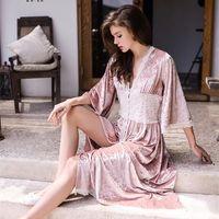 Wholesale Sexy Winter Nightgowns - 2018 New Autumn Winter Women's Warm Gold Velvet Homewear Sexy V-neck Lace Stitching Nightgown Sleepwear Nightdress
