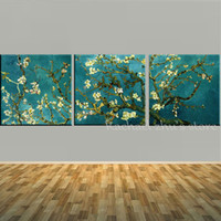 Wholesale Vincent Van Gogh Abstract - Handpainted 3 Panles Blossoming Almond Tree Oil Painting Vincent Van Gogh Reproduction On Canvas Wall Art Picture For Home Decor