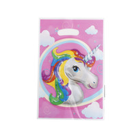 Wholesale loot kids gift bags - HENGHOME 10pcs Unicorn Theme Party Gift Bag Party Decor Plastic Candy Bag Loot For Kids Birthday Festival Supplies