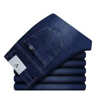 célèbre marque hommes jeans achat en gros de-2018 New Famous Brand Straight Jeans Hommes Coton Élégant Stretch Denim Top Quality Business Jeans Hommes Plus La Taille 36 38 40