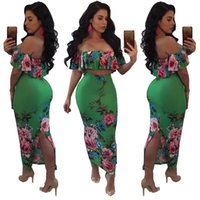 Wholesale Two Split Skirts - Hot Sexy Two Piece Women Bodycon Dress fashion Slash Neck Backless Flounced crop tops + Package hip skirt Maxi Dresses Clubwear