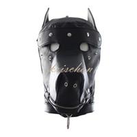 Wholesale adult latex hood - Free shipping Faux Leather Dog Mask Sexy Latex Realistic Head Bondage Hood Adult Sex Dog Mask Black Fetish Erotic Toys Sex Toys for Couples