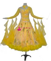 Wholesale adult ballroom dance dress resale online - Standard Ballroom Dance Dress Adult High Quality Yellow Color Flamenco Modern Waltz Ballroom Competition Dancing Dresses