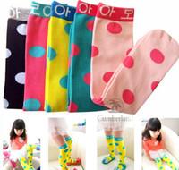 mädchen polka dot socken großhandel-Kinder Kinder Stiefel Polka Dot Socks Kinder Kinder Socken Kind Mädchen Legging Mädchen kniehohe Socken