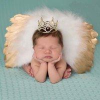 engel flügel für babys großhandel-Boutique Baby Neugeborenen Fotografie Requisiten Infant Mädchen Engel Feder Flügel Set Kostüm + Stirnbänder Kinder Outfit Foto Prop 89