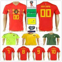 Wholesale kids world soccer jerseys resale online - 2018 World Cup Belgium Soccer Jersey E HAZARD DE BRUYNE KOMPANY LUKAKU FELLAINI Custom Adult Kids Football Shirt
