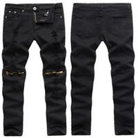 schwarze skinny jeans mode männer großhandel-Mode Patchwork Hip-Hop schwarz Männer zerrissene Jeans 2018 Männer Casual Marke Skinny Slim Fit Jeans Bleistift Biker Design