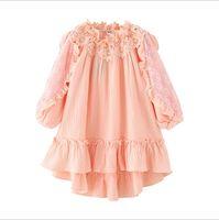 büyük kızlar yılbaşı elbiseleri toptan satış-Vieeoease Büyük Kız Elbise Yılbaşı Çiçek Çocuk Giyim 2018 Sonbahar Moda Uzun Kollu Dantel Prenses Parti Elbise EE-1196