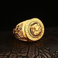 en iyi parmak takı toptan satış-En iyi Satılanlar Hip hop erkek Yüzük Takı Ücretsiz Masonik 24 k altın Aslan Madalyon Kafa Parmak Yüzük erkekler kadınlar için HQ