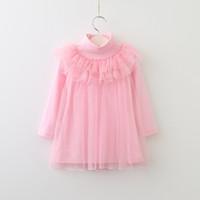 Wholesale korean kids shirts - Vieeoease Girls T-Shirt Lace Tulle Ruffle Shirt 2018 Autumn Fashion Long Sleeve Korean Style Kids Clothes HX-789