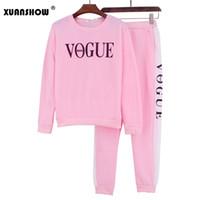 vogue sweatshirt toptan satış-XUANSHOW Sonbahar Kış 2 Parça Set Kadın VOGUE Mektuplar Baskılı Kazak + Pantolon Takım Elbise Eşofman Uzun Kollu Spor Kıyafet