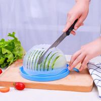 plastikgemüse großhandel-Multifunktions Salat Cutter Schüssel schneiden Obst Gemüse Salatschüssel Kreative Küche Werkzeuge großen großen Kunststoff mischen Adapter