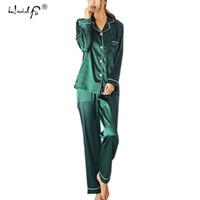 seksi ipek pijama pantolonu artı boyutu toptan satış-Artı Boyutu 5XL Pijama setleri 2018 Kadın Gecelik Seksi Iç Çamaşırı Pijama Ipek Saten Uzun Kollu Femme V Yaka Pijama Gecelikler