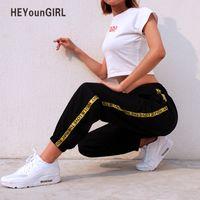 мешковатый трусик оптовых-HEYounGIRL Casual Baggy Black Pants Women's Sweatpants And Joggers Patchwork Striped Sweat Pants Print High Waist Trousers