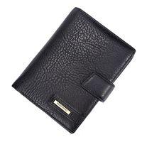 Wholesale zipper document case - New men's genuine leather passport cover wallets multifunctional pouch card holder clutch money purse business document Case Bag