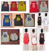 jerseys durante al por mayor-Kobe Bryant 24 Basketball Jerseys Traje Tops + Shorts para niños tamaño (2XS a 2XL) dos colores amarillo y morado