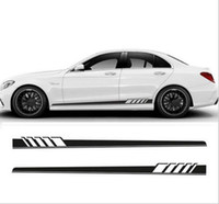 Wholesale black auto vinyl - NEW 2pcs Set Edition Auto Side Skirt Decoration Sticker For Mercedes Benz C Class W205 C180 C200 C300 C350 C63 AMG