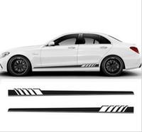 autocollants de décoration noirs achat en gros de-NOUVEAU 2pcs / Set Edition Auto Side Sticker Décoration Jupe Pour Mercedes Classe C W205 C180 C200 C300 C350 C63 AMG