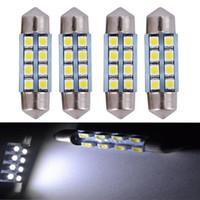 mavi araba kubbe lambaları toptan satış-YSY 50X Festoon 8SMD LED 31mm 36mm 39mm 41mm Beyaz 3528 1210 8SMD 8LED Araba Işık Okuma Haritası Kapı Işıkları Dome Kafa Lambası Ampul 12 V