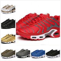 Wholesale womens plus denim - 2018 NEW Vapormax TN Plus Olive In Metallic White Silver Colorways Shoes Men Shoes For Running Male Shoe Pack Triple Black womens Shoes