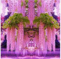 künstliche reben großhandel-1,6 Meter lange elegante künstliche Seide Blume Wisteria Reben Rattan für Hochzeit Mittelstücke Dekorationen Bouquet Garland Home Ornament