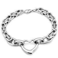 Wholesale byzantine stainless steel bracelet resale online - CHIMDOU Ms bracelet fashion byzantine box simple double U chain chain stainless steel jewelry elegant women heart bracelets