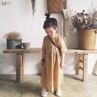 ingrosso vestito blu dall'alto del collo del bambino-Collo alto Bambino Abiti graziosi Vestito da bambina Vestito giallo / rosa / blu Abito lungo Stile vintage con caviglia Vestito coreano Bambini coreani