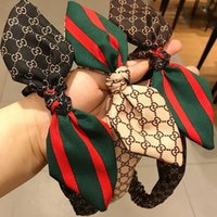 Wholesale red hair love online - Red Green Stripe Letters Brand Headbands Elastic Bowknot Hairband Luxury Brand Hair Accessory Jewelry Gift for Love