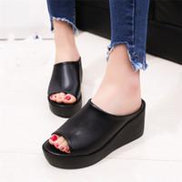 chinelos de peixe mulheres venda por atacado-Mulheres Verão Moda Lazer Sapatos Mulheres Plataforma Cunhas Sandálias De Boca De Peixe De Fundo Grosso Chinelos