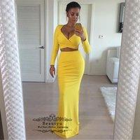 vestido de sirena amarilla raja al por mayor-Mermaid Yellow Evening Gonws con mangas largas Cuello en V profundo Dos piezas Ranura lateral Árabe Dubai Vestidos formales Noche más el tamaño 2019