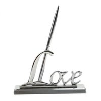 подписывающие знаки оптовых-Роскошные Медные Гости Подписание Ручка + Любовь Держатель Стенд Свадебные Подарки Украшения