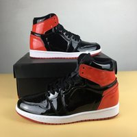 """Wholesale Mirrored Fabric - (withbox) 2017 Air Retros 1 OG High MIRROR BLACK RED NRG """"Bred"""" Men Basketball Shoes Retros 1s Sports Shoes Trainers Sneakers"""