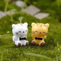 ingrosso ornamenti giardino gatti-Miniature Smiling Cartoon Cat Cute Mini resina Toy Doll Moss Terrarium Ornamenti Micro Paesaggio Accessori Fairy Garden Materiale fai da te ZAKKA