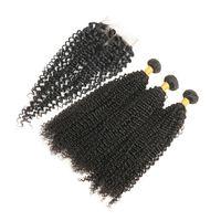 brazilian yumuşak kıvırcık saç toptan satış-Kapatma ile brezilyalı Sapıkça Kıvırcık Saç Yumuşak Brezilyalı Kıvırcık Örgü İnsan Saç Kapatma Ile 3 Demetleri Doğal Renk Ücretsiz Kargo