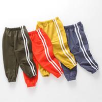 fondos chicos ropa niños al por mayor-2018 Summer Striped Boys Pants Cotton Bottom Kids Pantalones deportivos para niños Solid Harem 2-8 años Niños Ropa Pantalones