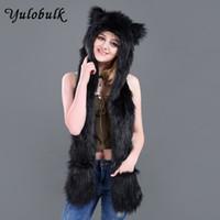black wolf hat Australia - Fashion Faux Fur Animal Hat Scarf Set Wolf Hat  With Paws b366c8cd894