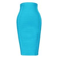 estilos para faldas hasta la rodilla. al por mayor-Sexy Light Blue 2018 Estilo más nuevo de las mujeres Rayón Longitud de la rodilla de cintura alta Bodycon Vendaje Lápiz falda