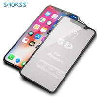 Wholesale Frosted Glass Screen - SMORSS 50 PCS HD Frosted Tempered Glass Phone Film for iphone X High Quality 5D Full Screen Coverage Soft Edge Phones Protection Film
