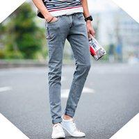 корейские мужчины карандашные джинсы оптовых-Смягчитель Новый Корейский Стиль Мужские Джинсы Серый Тонкий Тощий Человек Байкер Джинсы С Молниями Дизайнер Стрейч Мода Повседневные Брюки Карандаши Брюки