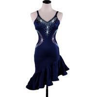 13e4877ec7 Latin Dance Dress Costumes Women Salsa Tango Dress D372 Navy with Bra Cup  Underwear Rhinestones Irregular Hem Sleeveless