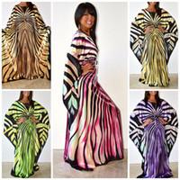 vestido de cebra de las mujeres al por mayor-Vestido africano para mujer 2018 moda zebra estampado de rayas vestido más tamaño maxi vestido largo Robe Africaine vetsido