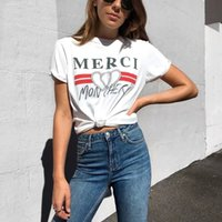 Wholesale korean style casual clothing for sale - Harajuku Summer White T Shirt Women S Merci Heart Printed Tshirt Female Korean Style T Shirt Tops Tee Streetwear Clothes