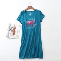 Cartoon Elephant Print Summer Nightgown Nightdress Women V-neck Loose Dress  Knitting Cotton Short Sleeve Lounge Sleepwear D87395 d91434efe
